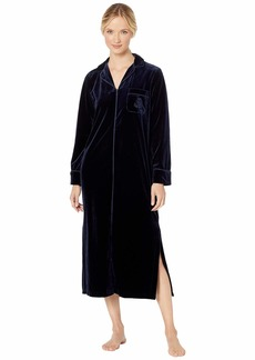 Ralph Lauren Velvet Long Sleeve Notch Collar Zip Front Caftan