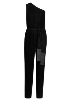 Ralph Lauren Velvet One-Shoulder Jumpsuit