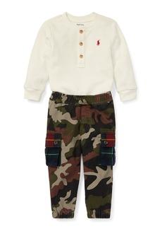 Ralph Lauren Waffle-Knit Henley Top w/ Camo Cargo Pants