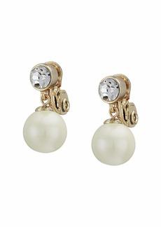 Ralph Lauren White Pearl Clip Drop Earrings