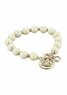 Ralph Lauren White Pearl Crest Stretch Bracelet