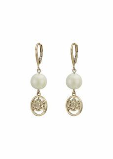 Ralph Lauren White Pearl Linear Earrings