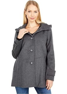 Ralph Lauren Wool A-Line Reefer Coat with Removable Hood
