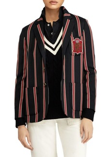 Ralph Lauren Wool-Blend Cricket-Stripe Blazer