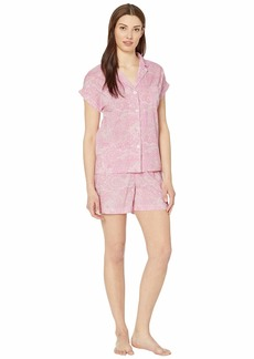 Ralph Lauren Woven Short Sleeve Dolman Pointed Collar Boxer Pajama Set