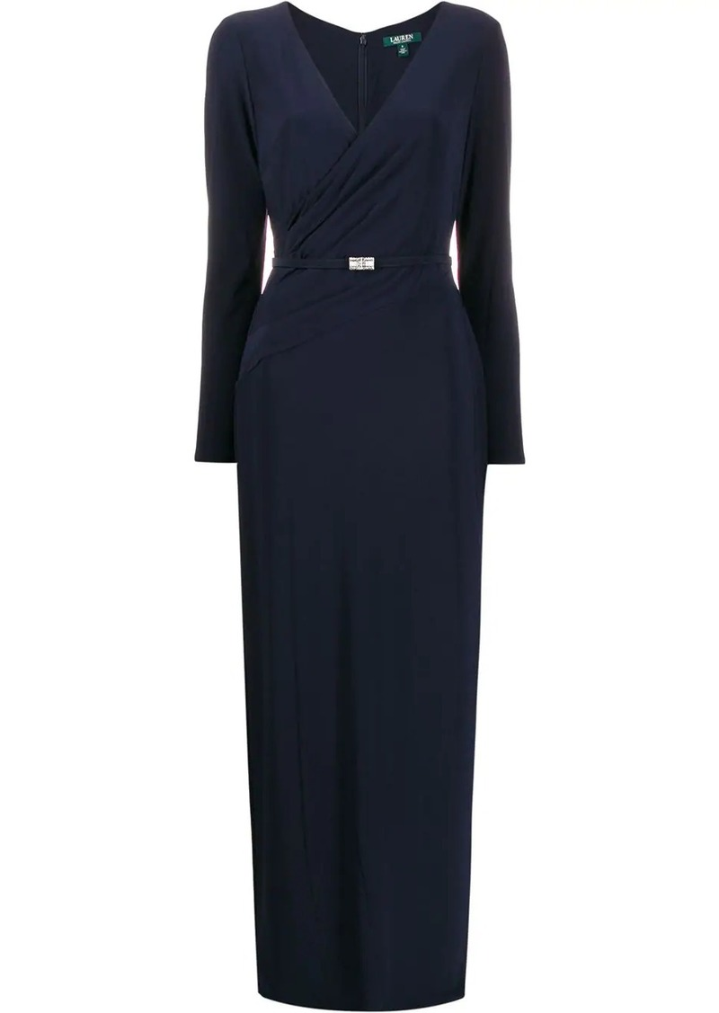 Ralph Lauren wrap front belted gown