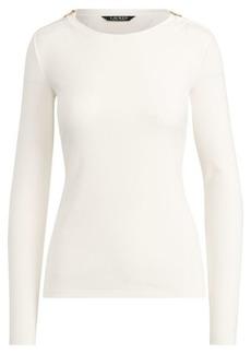 Ralph Lauren Zipper-Trim Cotton-Blend Top