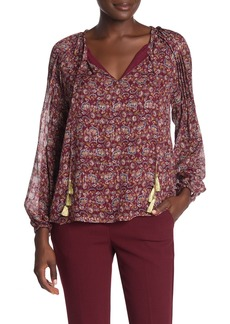 Ramy Brook Adira Floral Metallic Silk Blend Long Sleeve Blouse