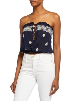 Ramy Brook Alessia Embellished Strapless Cover-Up Crop Top