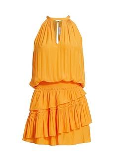 Ramy Brook Alexandra Blouson-Waist Halter Dress