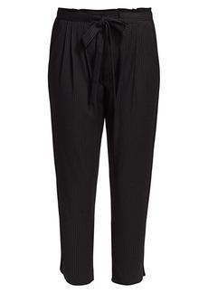 Ramy Brook Allyn Pinstripe Drawstring-Waist Crop Pants