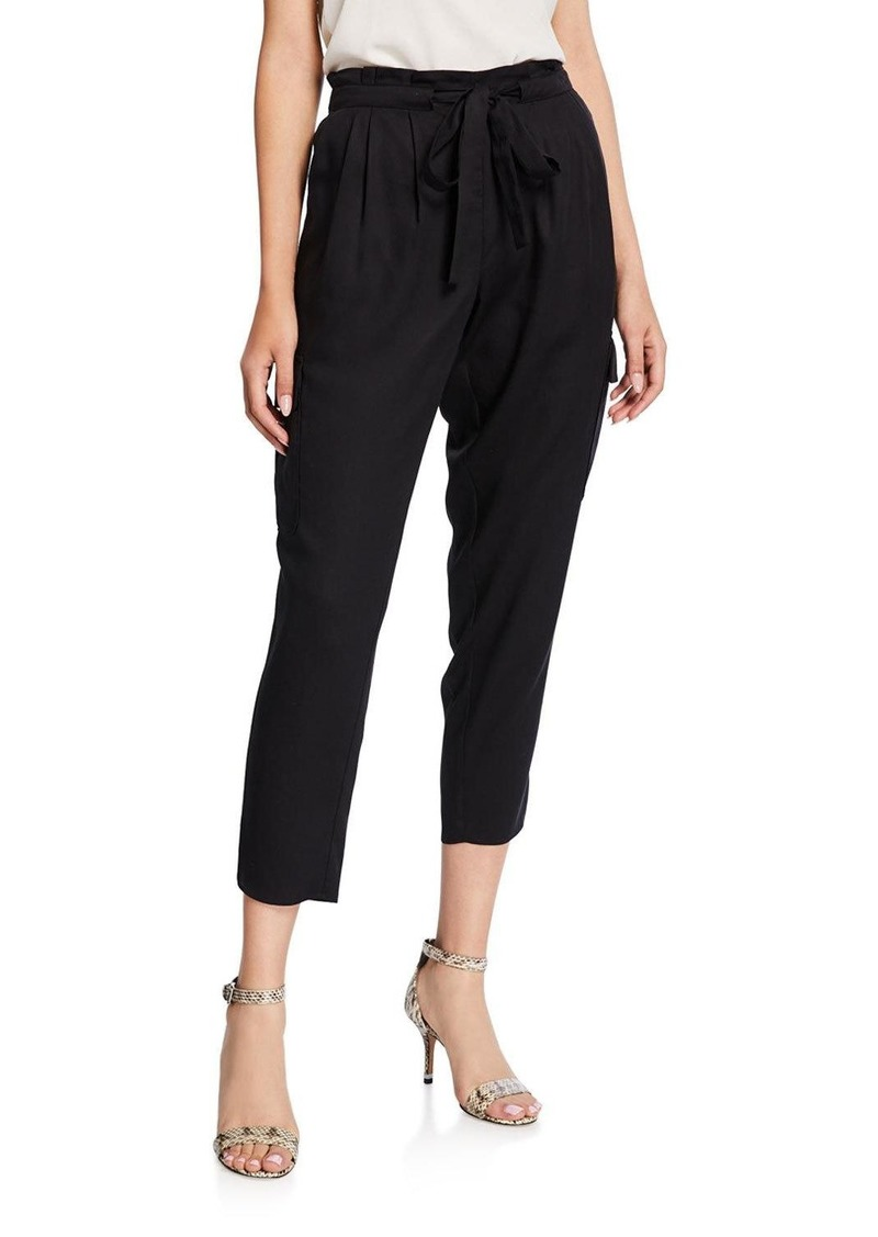 Ramy Brook Allyn Pleated Paperbag Cropped Pants