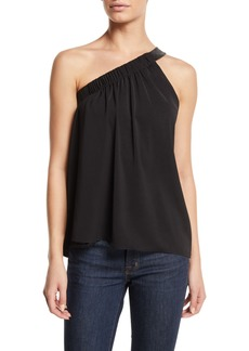 Ramy Brook Arielle Gathered One-Shoulder Top with Leather Strap