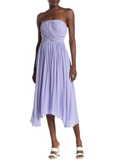 Ramy Brook Ava Strapless Asymmetrical Hem Midi Dress