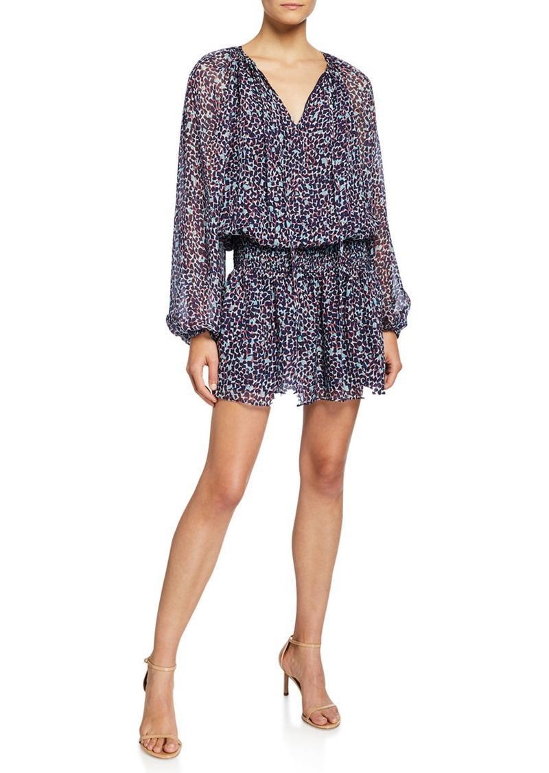 Ramy Brook Beckam Printed V-Neck Long-Sleeve Mini Blouson Dress