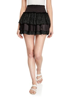 Ramy Brook Beckie Tiered Dot-Print Mini Skirt