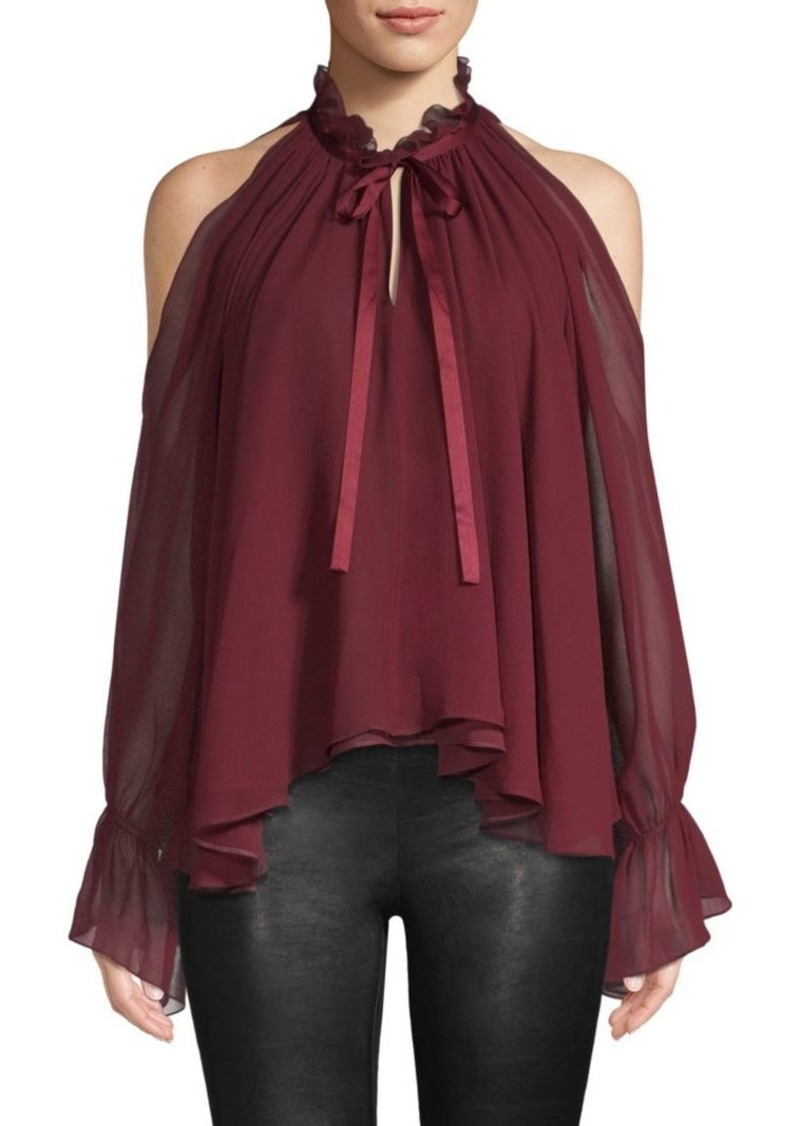 ce14f652fb74db SALE! Ramy Brook Blaine Shirred Silk Cold-Shoulder Blouse