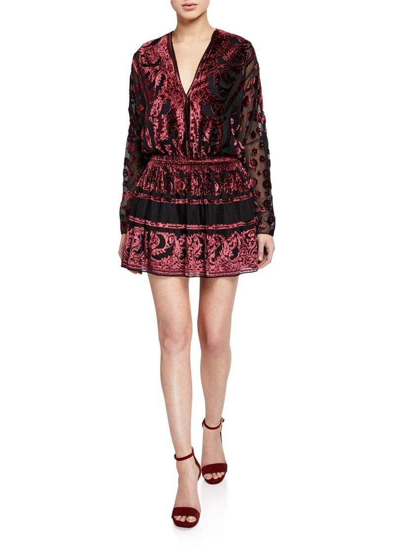 Ramy Brook Clarice Paisley Velvet Burnout Long-Sleeve Mini Dress