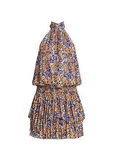 Ramy Brook Delilah Leopard & Floral Print Mini Halter Dress