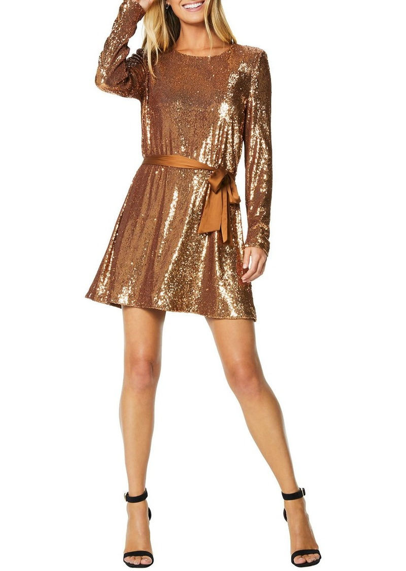 Ramy Brook Hallie Sequined Long-Sleeve Belted Dress