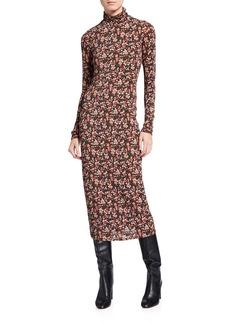 Ramy Brook Heidi Floral Long-Sleeve Midi Bodycon Dress