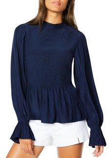 Ramy Brook Justine Smocked Satin Flare-Cuff Blouse