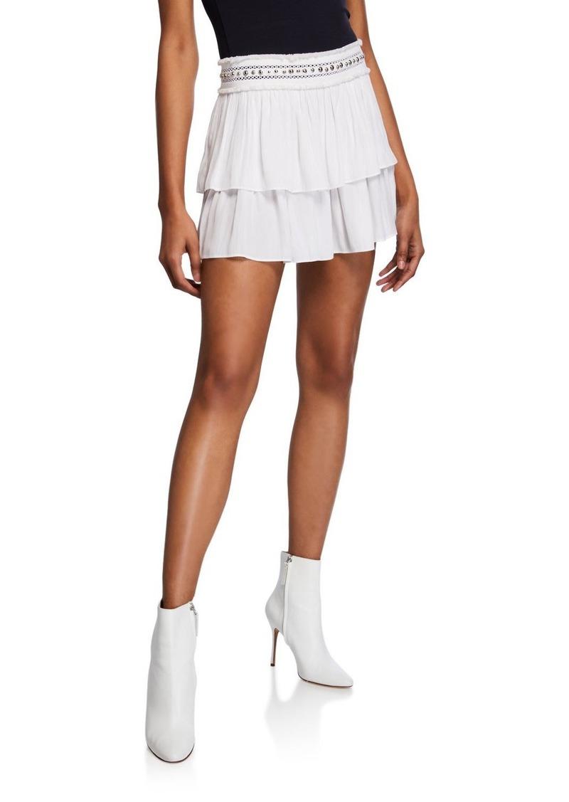 Ramy Brook Maeve Stud-Embellished Tiered Mini Skirt