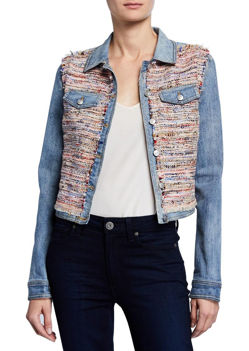 Ramy Brook Montie Tweed Combo Cropped Denim Jacket