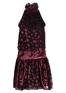 Ramy Brook Naima Sleeveless Velvet Turtleneck Blouson Dress
