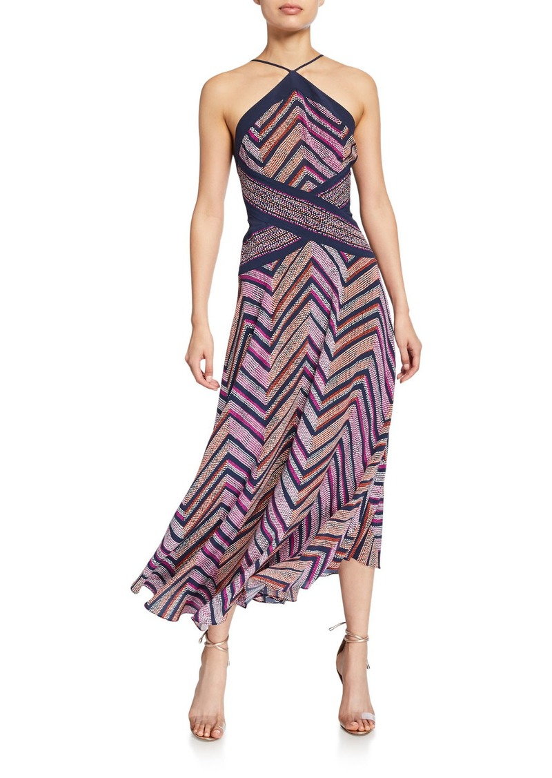 Ramy Brook Percy Chevron-Printed Strappy Halter Dress