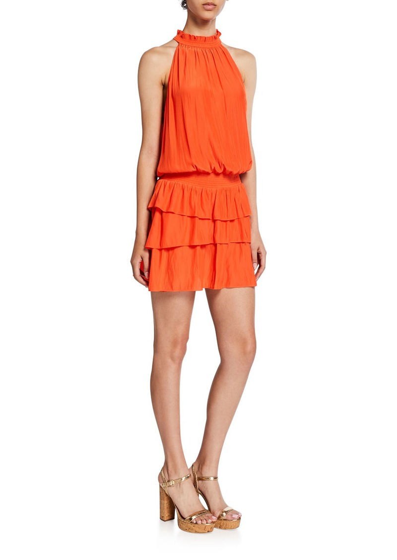 Ramy Brook Perla Halter-Neck Smocked Dress