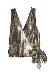 Ramy Brook Printed Norah Faux Wrap Silk Top