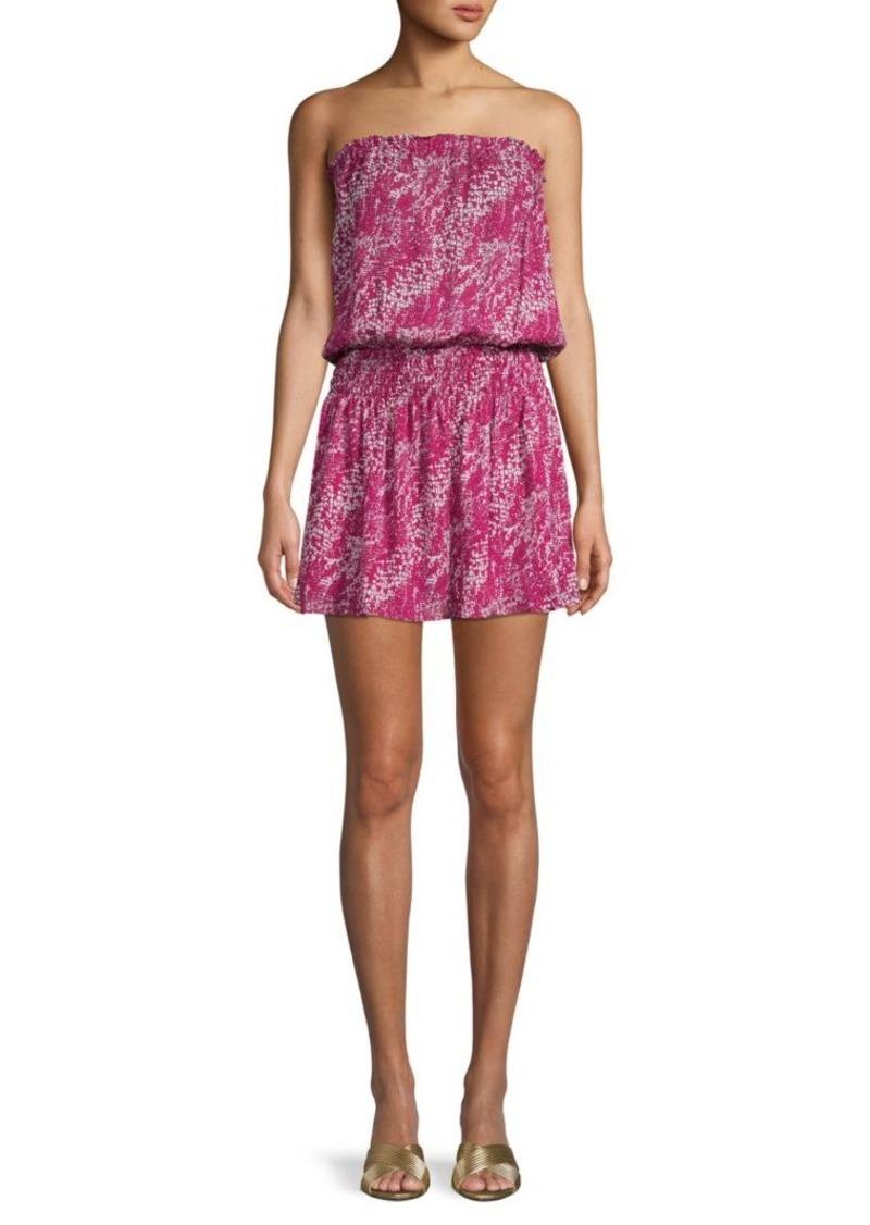 Ramy Brook Printed Silk Mini Blouson Dress