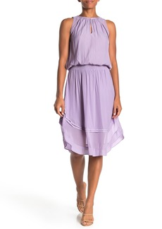 Ramy Brook Quin Mesh Shoulder Shirred Waist Dress