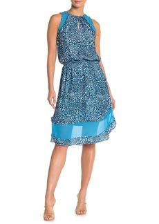Ramy Brook Quin Printed Mesh Shoulder Shirred Waist Dress