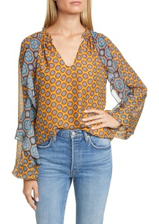 Ramy Brook Brenna Long Sleeve V-Neck Silk Top