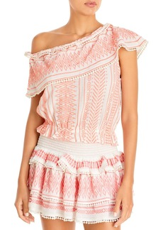 Ramy Brook Embroidered Printed Off The Shoulder Top