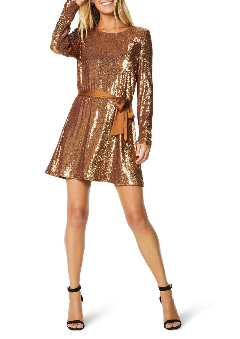 Ramy Brook Hallie Sequin Belted Long Sleeve Minidress