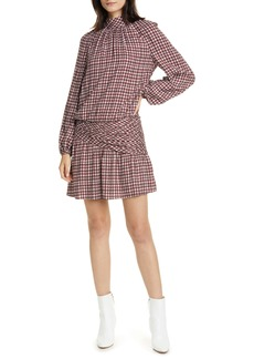 Ramy Brook Houndstooth Tie Neck Long Sleeve Dress
