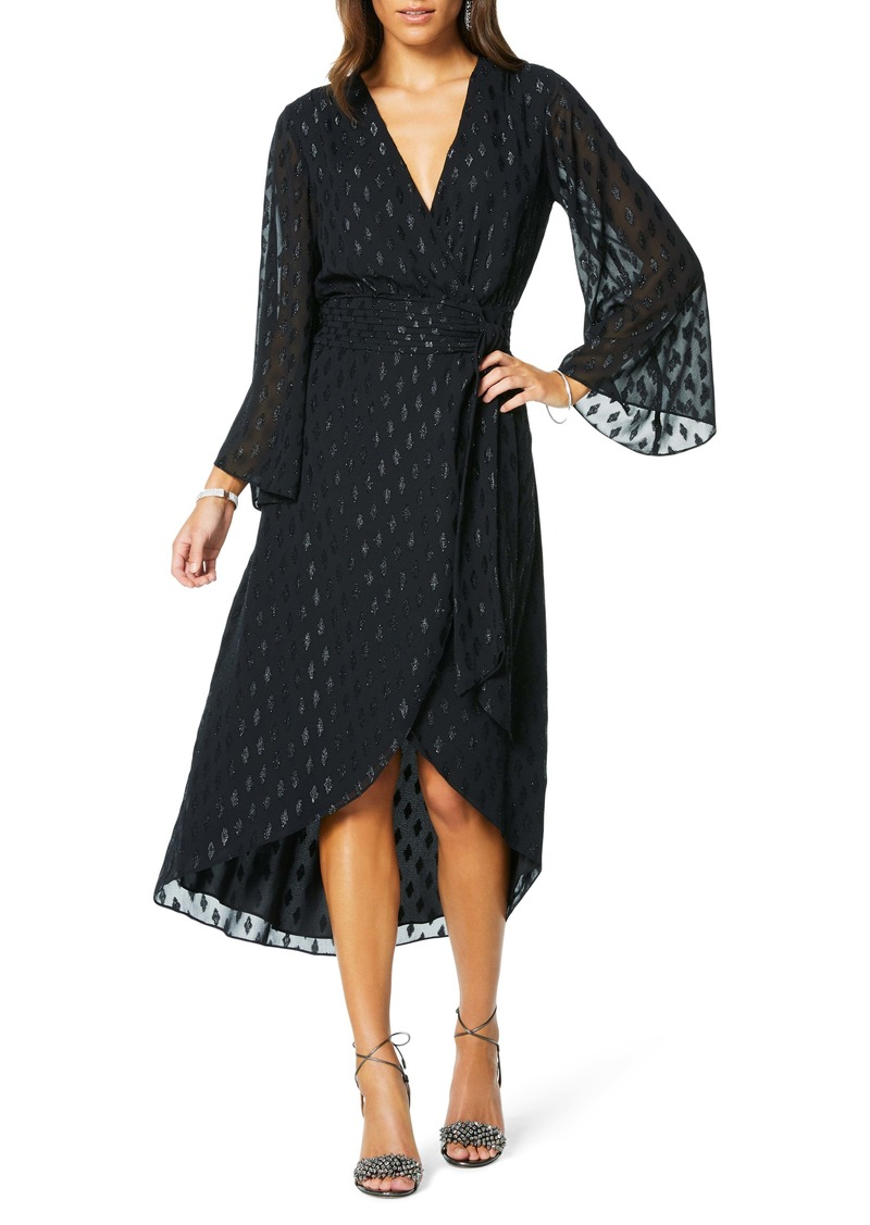 Ramy Brook Julie Metallic Print Long Sleeve Wrap Dress