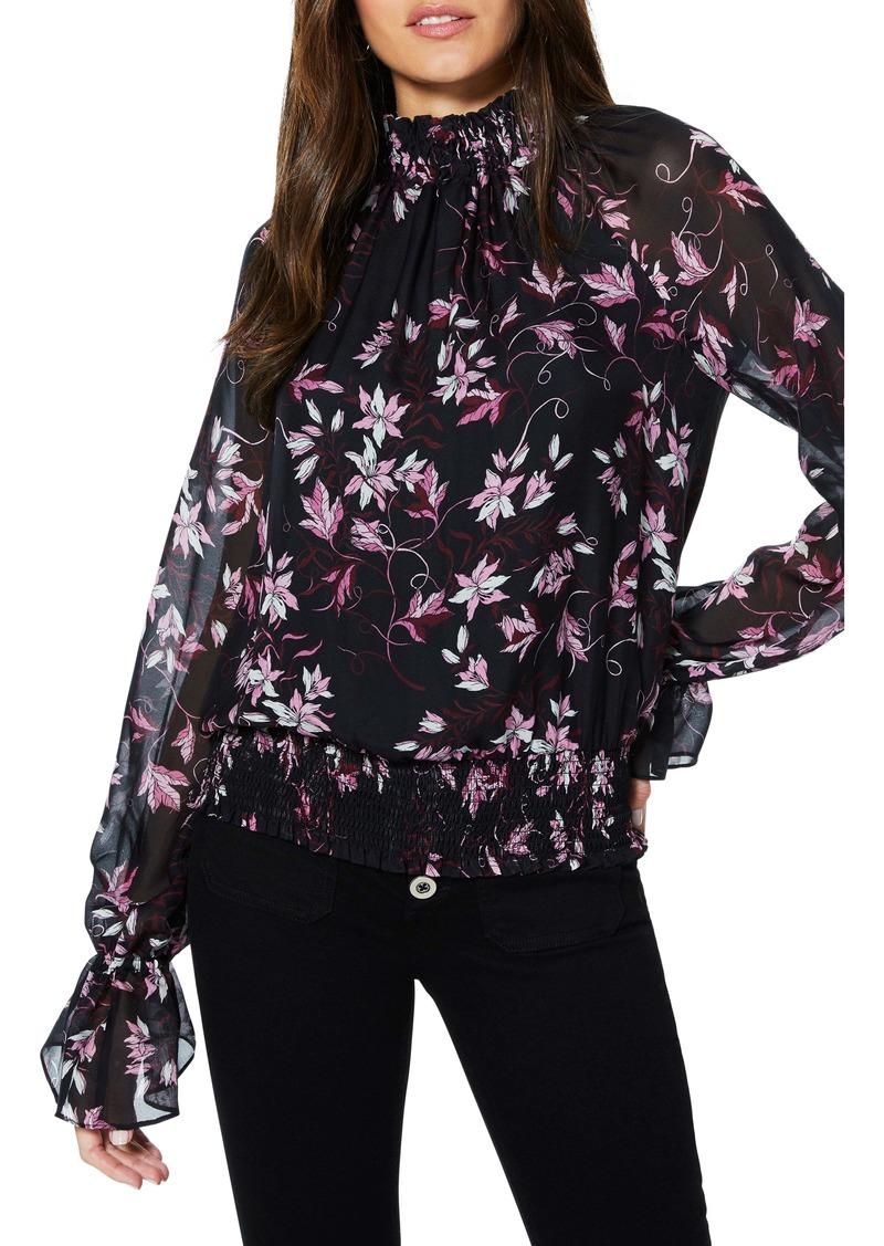 Ramy Brook Keisha Floral Print Smocked Silk Blouse