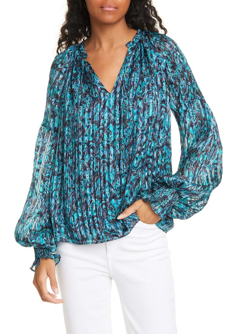 Ramy Brook Luanne Pleated & Smocked Silk Top
