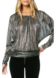 Ramy Brook Metallic Multi Stripe Long Sleeve Top