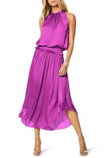 Ramy Brook Myrtle Hammered Satin Sleeveless Dress