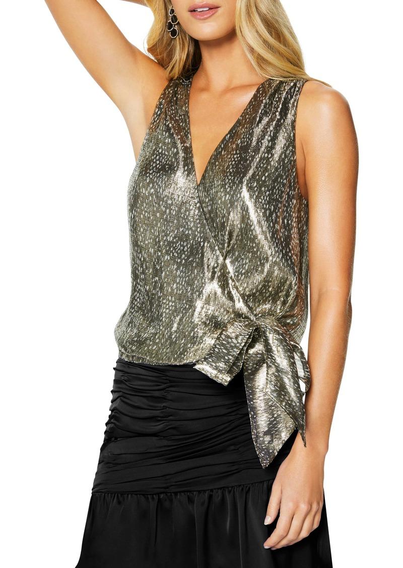 Ramy Brook Norah Faux Wrap Metallic Top