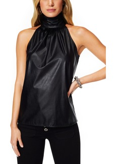 Ramy Brook Pam Sleeveless Faux Leather Silk Top