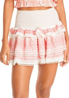 Ramy Brook Paros Embroidered Ruffled Skirt