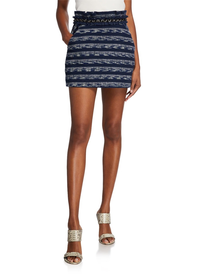 Ramy Brook Shawni Ruffle Chain-Trim Mini Skirt