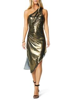 Ramy Brook Susanna One-Shoulder Asymmetrical Metallic Silk Dress