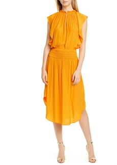 Ramy Brook Wren Mock Neck Smocked Midi Dress
